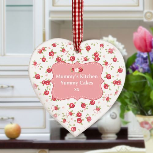 Personalised Vintage Floral Wooden Heart Decoration